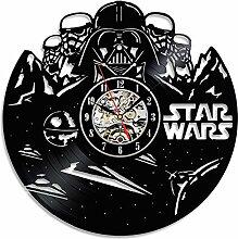 Handmade Star Wars Black Vinyl Wanduhr