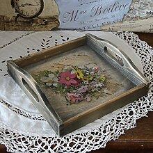 handmade4u Vintage Holztablett 24x24 cm Tablett