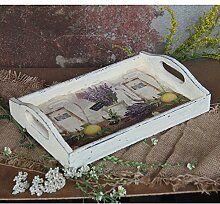 handmade4u Vintage Holztablett 30x20 cm Tablett