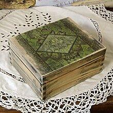 handmade4u Vintage Schatulle Teebox mit 4 Fächern