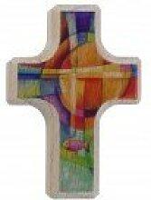 Handschmeichler Kreuz mit Fisch * nettes Weihnachtsgeschenk * Buche massiv mit abgerundeten Seiten, vierfarbig bedruckt - Lieferung auf Backcard * Grösse:6 x 4 cm