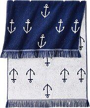 Handtuch Anker, blau (50/100 cm))