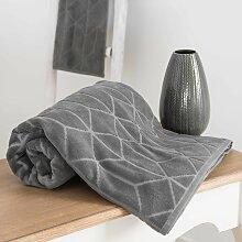 Handtuch aus anthrazitfarbener Baumwolle mit