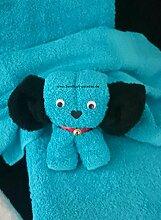 Handtuch-Geschenk-Figur aus eigener Anfertigung als kleiner Hund, originelle Geschenkidee, hergestellt aus einem Gästehandtuch 30x50 cm und einem Waschlappen in 100% reiner Baumwolle in Farbe türkis