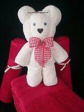 Handtuch-Geschenk-Figur aus eigener Anfertigung, großer Bär, originelle Geschenkidee, hergestellt aus einem Duschtuch 70x140 cm in 100% reiner Baumwolle weiß