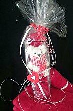 Handtuch-Geschenk-Figur aus eigener Anfertigung, Handtuch gerollt in rot plus kleines Bärchen in weiß, in Klarsichtfolie als Geschenk verpackt, originelle Geschenkidee, hergestellt aus einem Handtuch 50x100 cm und einem Gästetuch 30x50 cm in 100% reiner Baumwolle
