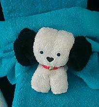 Handtuch-Geschenk-Figur aus eigener Anfertigung, kleiner Hund in weiß, originelle Geschenkidee, hergestellt aus einem Gästetuch 30x50 cm und einem Waschlappen in 100% reiner Baumwolle