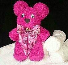 Handtuch-Geschenk-Figur aus eigener Anfertigung, mittelgroßer Bär, originelle Geschenkidee, hergestellt aus einem Handtuch in 50x100 cm in 100% reiner Baumwolle, Farbe pink
