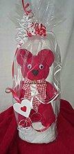 Handtuch-Geschenk-Figur aus eigener Anfertigung, originelle Geschenkidee, hergestellt aus einem weißen Badetuch in 100x150 cm und einem großen roten Bär in 50x100 cm, 100% reiner Baumwolle