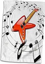 Handtuch mit 3D-Rosenbild Einer roten Gitarre mit