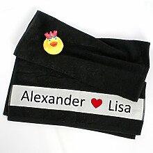 Handtuch mit Namen für Paare * schwarzes Duschhandtuch 50 x 100 cm *