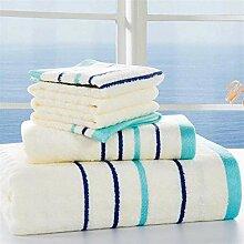 Handtuch Set 3pcs Bambusfaser Streifen Badetücher