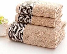 Handtuch Set 3pcs verdickte Baumwolle Waschlappen