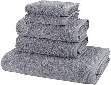 Handtuch Set, Basic, Möve (Set) 5tlg.-Set grau