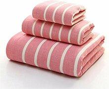 Handtuch Set Baumwolle Streifen Badetücher