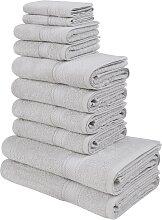 Handtuch Set, Moni, my home (Set) 10tlg.-Set grau