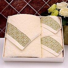 Handtuch Set Satz von 3 Baumwolle Embroideried