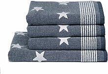 Handtuch -und Duschtuch Set STARDUST blau mit
