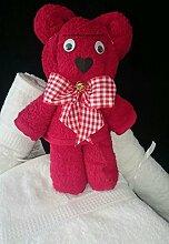 Handtuchfigur / Handtuch-Tier aus eigener Anfertigung, mittelgroßer Bär, originelle Geschenkidee, hergestellt aus einem Handtuch in 50x100 cm in 100% reiner Baumwolle, Farbe ro