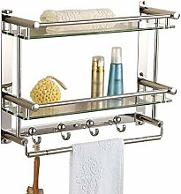 Handtuchhalter 2 Ebenen Badezimmer 7mm Glas