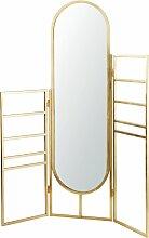Handtuchhalter aus goldfarbenem Metall mit Spiegel