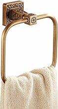 Handtuchringe Wandmontierte massive Messing Antik Design Quadratische Handtuchhalter Kleiderbügel für Bad oder Küche, gebürstet Finish