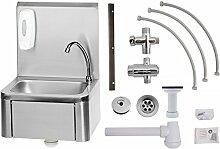 Handwaschbecken Edelstahl mit Kniebedienung + Anschlussset Mischbatterie, Armatur und Seifenspender