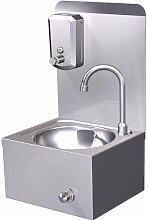 Handwaschbecken + Seifenspender Edelstahl Wandmontage Kniebedienung Waschbecken