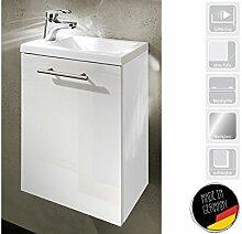 """Handwaschplatz Waschtisch Waschbecken Waschplatz Unterschrank Bad """"Alexo II"""" (Korpus-weiß/Front-weiß Hochglanz)"""