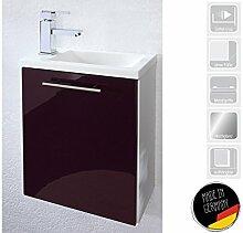 """Handwaschplatz Waschtisch Waschbecken Waschplatz Unterschrank Bad """"Alexo II"""" (Korpus-weiß/Front-brombeer Hochglanz)"""