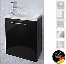 """Handwaschplatz Waschtisch Waschbecken Waschplatz Unterschrank Bad """"Alexo II"""" (Korpus-anthrazit/Front anthrazit Hochglanz)"""
