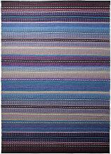 HANDWEBTEPPICH 60/110 cm Blau, Grau, Lila, Petrol