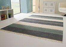 Handwebteppich Indira Colour in Blau - Teppich aus