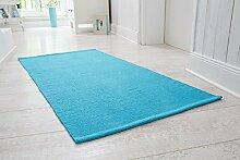 Handwebteppich Milo, Läufer aus 100% Baumwolle, pflegeleicht & waschbar, einfarbig, Größe:100x150cm, Farbe:Türkis