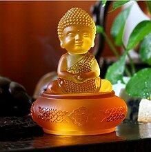Handwerk Auto Zubehör Auto Zubehör Glas Buddha Statue Dekoration Kleine Sand Monk Schreibtisch Geschenk Dekoration Kreativ zusammenkommen , amber