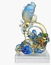 Handwerk Glas Arowana Wohnzimmer Home Dekoration Dekoration der Firma Shop Business Eröffnet Geschenk Geschenkboxen , s