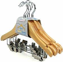HANGERWORLD 6 Holz Kinder-Kleiderbügel mit Clips