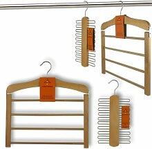 Hangerworld Holz 4 Steg Hosenbügel und 20