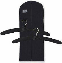 Hangerworld - Set atmungsaktive Kleiderhülle + 2 gepolsterte Satin-Kleiderbügel - Creme - 43cm