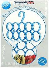 Hangerworld stylischer Schalbügel mit 10 Ringen für Tücher, Schals und Accessoires - hellblau