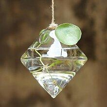 Hanging Rautenförmigen Glas Blumenvase Hausgarten Hochzeit Dekoration