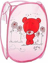 hangnuo Cute faltbar Nylon Kleidung Wäschekorb Toys Aufbewahrungskorb Pop-Up Home Organizer Mülleimer Pink Bear