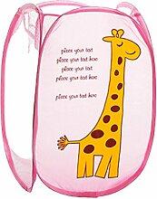hangnuo Cute faltbar Nylon Kleidung Wäschekorb Toys Aufbewahrungskorb Pop-Up Home Organizer Mülleimer Rosa/Giraffenmuster