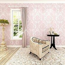 HANMERO Euro reg;Europa Barock romantische warme Importvlies-Tapete Schaum Beflockung vergoldet Mustertapete 0.53m*10m perlpink für Schlafzimmer, Wohnzimmer, Kinderzimmer