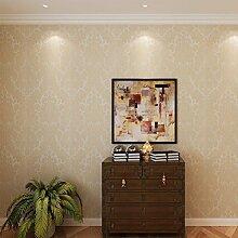 Hanmero Europa Erstklassig Ornament Barock Tapete Schön Wohnen Elegance Vliestapete Prägung Relief 0,53*10m 2 Farben für Wohnzimmer Hotel Flur … (Beige-gold)