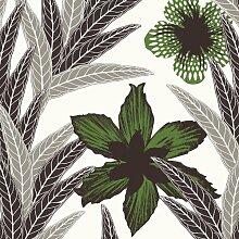 Hanna Werning 1302 Vliestapete Palmblätter Blüten Grün Grau Schwarz
