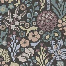 Hanna Werning 1304 Vliestapete Flora und Fauna Pastell Anthrazi