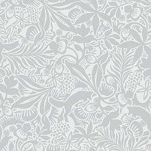 Hanna Werning 1309 Vliestapete Blumen und Füchse Hellgrau Weiß