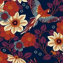 Hanna Werning 1311 Vliestapete Blumen und Papageien Blau