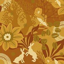 Hanna Werning 1314 Vliestapete Blumen und Hasen Gelborange